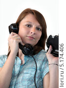 Купить «Девушка звонит», фото № 5174406, снято 5 февраля 2010 г. (c) Phovoir Images / Фотобанк Лори
