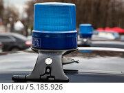 Купить «Синий специальный световой сигнал (мигалка), установленный на автомобиле представительского класса», фото № 5185926, снято 19 октября 2013 г. (c) Николай Винокуров / Фотобанк Лори