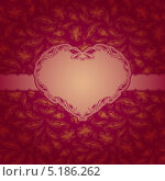 Красный фон с золотой рамочкой в форме сердца. Стоковая иллюстрация, иллюстратор Юлия Гончарова / Фотобанк Лори