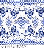 Купить «Голубая гжель, бесшовный фон», иллюстрация № 5187474 (c) Прудникова Ирина / Фотобанк Лори