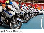 Купить «Демонстрация сотрудниками ГИБДД мотоциклов BMW R1200RT на празднике - День московской полиции 19 октября 2013», эксклюзивное фото № 5189310, снято 19 октября 2013 г. (c) Николай Винокуров / Фотобанк Лори