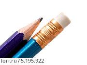 Купить «Карандаш и карандашный ластик крупным планом. Изолировано на белом», фото № 5195922, снято 15 октября 2013 г. (c) Egorius / Фотобанк Лори