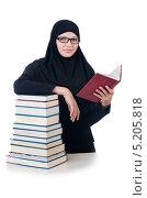 Купить «Девушка в мусульманском платке со стопкой книг», фото № 5205818, снято 26 августа 2013 г. (c) Elnur / Фотобанк Лори