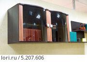 Купить «Навесной шкаф со стеклянными дверцами», эксклюзивное фото № 5207606, снято 26 октября 2013 г. (c) Володина Ольга / Фотобанк Лори