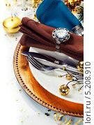 Купить «Сервировка новогоднего стола», фото № 5208910, снято 23 ноября 2012 г. (c) Наталия Кленова / Фотобанк Лори