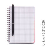Купить «Тетрадь в клетку с ручкой», фото № 5212026, снято 22 мая 2012 г. (c) Natalja Stotika / Фотобанк Лори