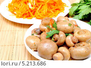 Купить «Маринованные шампиньоны и салат из моркови», фото № 5213686, снято 27 октября 2013 г. (c) Мастепанов Павел / Фотобанк Лори