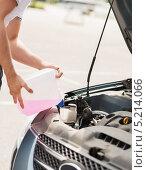 Купить «Водитель заливает розовую жидкость из канистры», фото № 5214066, снято 5 июля 2013 г. (c) Syda Productions / Фотобанк Лори