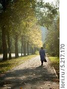 Девушка идет в лучах солнца по усыпанной осенними листьями дороге. Стоковое фото, фотограф Владислав Тропин / Фотобанк Лори