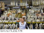 Купить «Женщина продает рыбу на Дорогомиловском рынке города Москвы», фото № 5232178, снято 3 ноября 2013 г. (c) Николай Винокуров / Фотобанк Лори