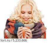 Купить «Девушка в зимней одежде греет руки о чашку с горячим чаем», фото № 5233666, снято 2 октября 2011 г. (c) Syda Productions / Фотобанк Лори