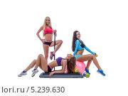 Купить «Три стройные сексуальные девушки со спортивными снарядами на белом фоне», фото № 5239630, снято 13 октября 2013 г. (c) Гурьянов Андрей / Фотобанк Лори