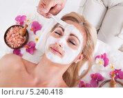 Купить «женщине делают косметическую маску», фото № 5240418, снято 19 мая 2013 г. (c) Андрей Попов / Фотобанк Лори