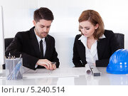 Купить «сотрудники архитектурной компании работают над проектом», фото № 5240514, снято 21 апреля 2013 г. (c) Андрей Попов / Фотобанк Лори