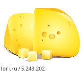 Нарезанный сыр на кусочки лежат на столе. Стоковая иллюстрация, иллюстратор Yana Geruk / Фотобанк Лори