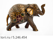 Деревянная фигурка слона на белом фоне. Стоковое фото, фотограф Александр Каримов / Фотобанк Лори