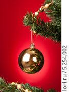 Купить «золотой шар висит на елке, крупный план», фото № 5254002, снято 13 августа 2013 г. (c) Андрей Попов / Фотобанк Лори