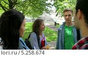 Купить «Students chatting together outside», видеоролик № 5258674, снято 29 марта 2020 г. (c) Wavebreak Media / Фотобанк Лори