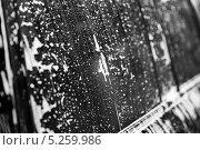 Стекло черного автомобиля на авто-мойке в брызгах и пене. Стоковое фото, фотограф Петров Игорь Алексеевич / Фотобанк Лори