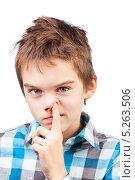 Купить «Мальчик ковыряет пальцем в носу», фото № 5263506, снято 4 ноября 2013 г. (c) Дмитрий Наумов / Фотобанк Лори