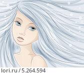 Векторная иллюстрация девушки с длинными волосами. Стоковая иллюстрация, иллюстратор Вероника Ковалева / Фотобанк Лори