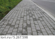 Купить «Тротуар, выложенный тротуарной плиткой», эксклюзивное фото № 5267598, снято 4 июля 2020 г. (c) Михаил Рудницкий / Фотобанк Лори