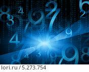 Купить «Светящиеся синие цифры на тёмном фоне», иллюстрация № 5273754 (c) Кирилл Черезов / Фотобанк Лори