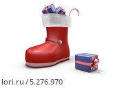 Башмак с новогодними подарками. Стоковая иллюстрация, иллюстратор Руслан Багаутдиинов / Фотобанк Лори