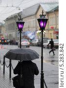 Купить «Москва, улица Покровка в пасмурный, дождливый день», эксклюзивное фото № 5283842, снято 7 ноября 2013 г. (c) ДеН / Фотобанк Лори