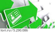 Идентификационная карточка на зеленой стрелке. Стоковая иллюстрация, иллюстратор Илья Урядников / Фотобанк Лори