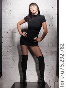 Купить «Красивая девушка с распущенными волосами стоит у кирпичной стены», фото № 5292782, снято 10 апреля 2010 г. (c) Syda Productions / Фотобанк Лори