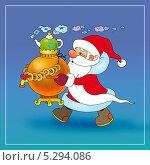 Дед Мороз готовится к чаепитию. Стоковая иллюстрация, иллюстратор Марина Рюмина / Фотобанк Лори