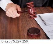 Купить «судейский молоток в руке, крупный план», фото № 5297250, снято 22 июня 2013 г. (c) Андрей Попов / Фотобанк Лори