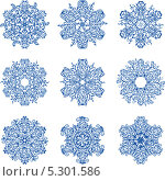 Синие снежинки. Стоковая иллюстрация, иллюстратор РифХасанов / Фотобанк Лори