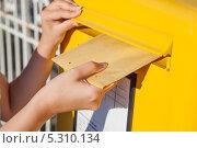 Купить «женская рука опускает конверт в уличный почтовый ящик», фото № 5310134, снято 10 августа 2013 г. (c) Андрей Попов / Фотобанк Лори