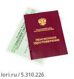 Купить «Пенсионное удостоверение и страховое свидетельство», фото № 5310226, снято 19 октября 2018 г. (c) FotograFF / Фотобанк Лори