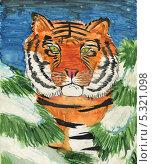 Сказочный тигр. Стоковая иллюстрация, иллюстратор Гузель Гайсина / Фотобанк Лори