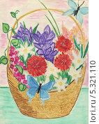 Цветы в корзине. Стоковая иллюстрация, иллюстратор Гузель Гайсина / Фотобанк Лори