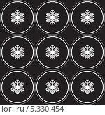 Геометрический узор из снежинок в круге. Стоковая иллюстрация, иллюстратор Марина Дычек / Фотобанк Лори