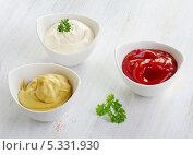 Купить «Горчица, кетчуп и майонез», фото № 5331930, снято 26 ноября 2013 г. (c) Tatjana Baibakova / Фотобанк Лори