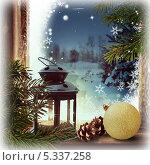 Новогодний фон с волшебным фонарем на замерзшем окне. Стоковое фото, фотограф Лариса К / Фотобанк Лори