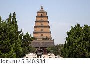 Купить «Большая пагода диких гусей. Буддийская пагода в южной части Сианя (Sian, Сиань), провинция Шэньси, Китай», фото № 5340934, снято 15 октября 2013 г. (c) Владимир Журавлев / Фотобанк Лори