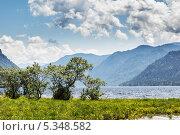 Купить «Телецкое озеро на фоне гор», фото № 5348582, снято 12 июня 2012 г. (c) Rumo / Фотобанк Лори