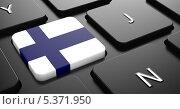 Флаг Финляндии на кнопке черной клавиатуры. Стоковая иллюстрация, иллюстратор Илья Урядников / Фотобанк Лори