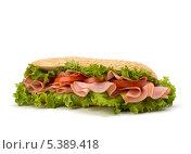 Купить «Сэндвич-багет с листьями салата, помидором, ветчиной и сыром», фото № 5389418, снято 11 марта 2011 г. (c) Natalja Stotika / Фотобанк Лори