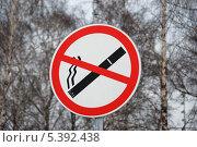 """Купить «Дорожный знак """"Курение запрещено""""», эксклюзивное фото № 5392438, снято 14 марта 2011 г. (c) lana1501 / Фотобанк Лори"""
