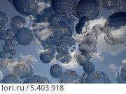 Купить «Множество стеклянных шаров на фоне голубого неба с облаками», иллюстрация № 5403918 (c) Иван Михайлов / Фотобанк Лори