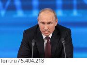Купить «Владимир Путин на ежегодной пресс-конференции, Москва, Центр международной торговли», фото № 5404218, снято 19 декабря 2013 г. (c) Игорь Долгов / Фотобанк Лори