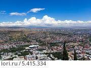 Купить «Вид с высоты птичьего полета на Тбилиси. Грузия», фото № 5415334, снято 3 июля 2013 г. (c) Евгений Ткачёв / Фотобанк Лори