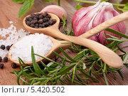 Свежая зелень и ложка соли. Стоковое фото, фотограф Natalja Stotika / Фотобанк Лори